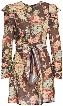 Zimmermann Eye Spy Floral Ruched-Sleeve Tie-Waist Mini Dress