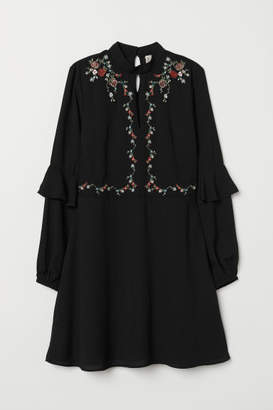 H&M Dress with Embroidery - Black