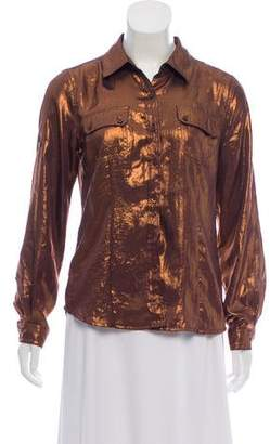 Calvin Klein Metallic Button-Up Top