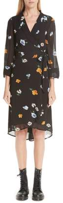 Ganni Dainty Floral Wrap Dress