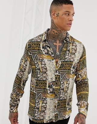 Pull&Bear revere collar shirt in mustard