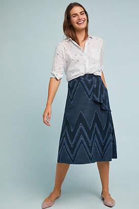 Eva Franco Textured Chevron Midi Skirt