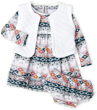 Rosie Pope Baby (Infant Girls) 3-Piece Quilted Vest, Printed Ruffle Dress & Shorts Set
