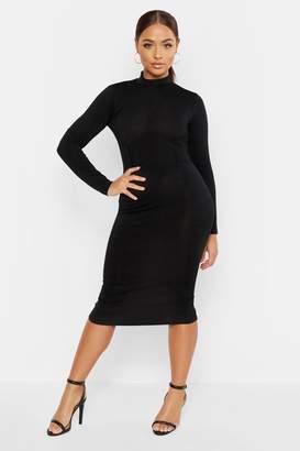 boohoo High Neck Bustier Detail Midi Dress