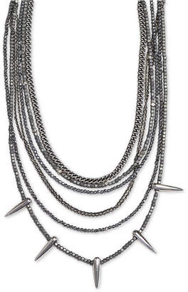 "King Baby Studio Women's Hematite Multi-Strand Spike 18"" Statement Necklace in Sterling Silver"