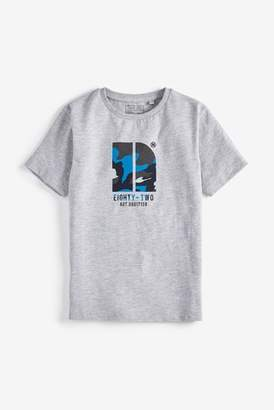 Next Boys Grey Marl Camouflage Infill Graphic T-Shirt (3-16yrs)