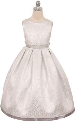 Kids Dream Gianna- Elegant Jacquard Full Dress Silver