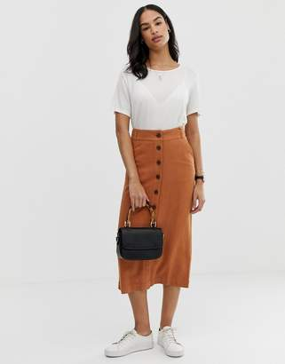 Asos Design DESIGN gutsy linen column midi skirt with button through