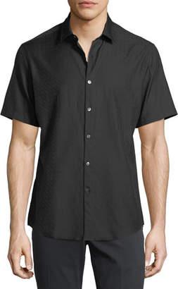Salvatore Ferragamo Men's Gancini-Jacquard Short-Sleeve Sport Shirt, Black