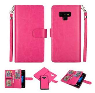 HLC 2 in 1 Leather Wallet Case with 9 Credit Card Slots and Removable Back Cover for Galaxy Note 9 -Hot Pink