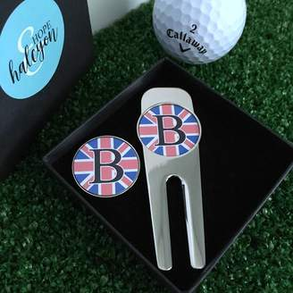 Hope and Halcyon Personalised Union Jack Golf Tool And Ball Marker