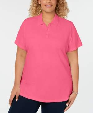 Karen Scott Plus Size Cotton Polo Top, Created for Macy's