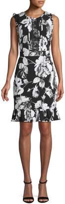 Karl Lagerfeld Paris Ruffled Floral Sheath Dress