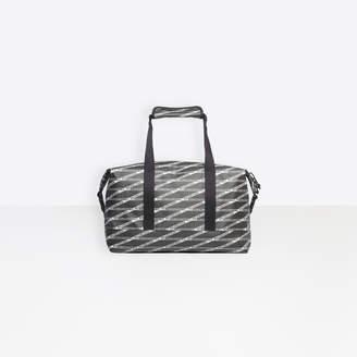 f94ae6ef4bfb Balenciaga Monogram Explorer Medium Gym Bag in black and grey printed  coated canvas