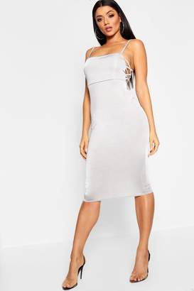 boohoo Double Slinky Lattice Side Midi Dress