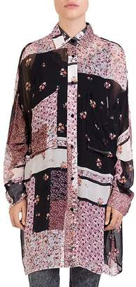The Kooples Patchwork-Print Tunic Shirt