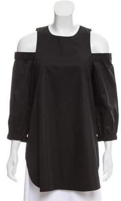 Tibi Cold-Shoulder Oversize Blouse