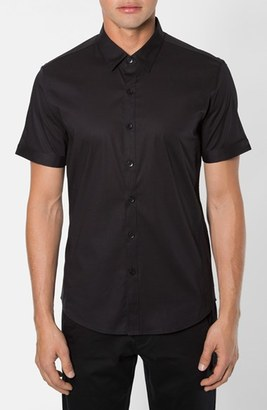Men's 7 Diamonds 'Feel Free' Trim Fit Short Sleeve Stripe Stretch Woven Shirt $69 thestylecure.com