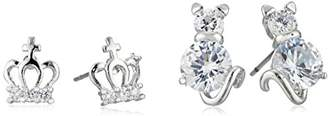 Betsey Johnson Cubic Zirconia Cat and Crown Duo Set of Stud Earrings