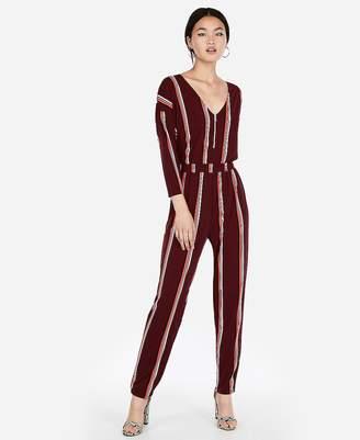 Express Stripe V-Neck Zip Front Jumpsuit