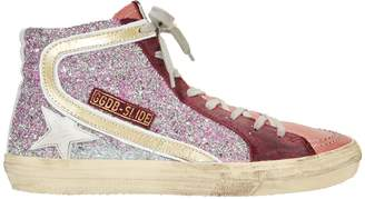Golden Goose Slide Hi Top Glitter Pink Sneakers