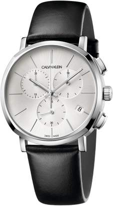 Calvin Klein Posh Chronograph Leather Band Watch, 42mm