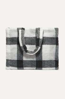 Stand Studios - Lola Checked Faux Shearling Tote - Black