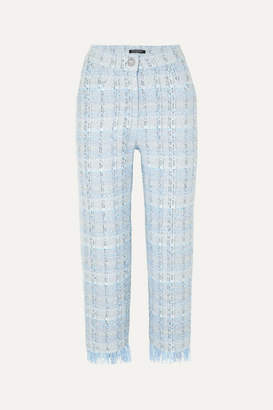 Balmain Cropped Metallic Tweed Straight-leg Pants - Blue