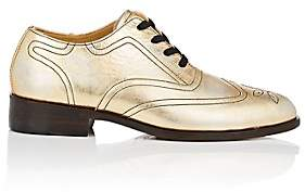 Esquivel WOMEN'S DISTRESSED METALLIC LEATHER WINGTIP OXFORDS