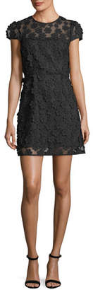 Milly Angie Short-Sleeve Floral Applique Dress