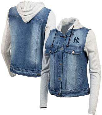 Antigua Women's Blue/Heathered Gray New York Yankees Swag Jean Bomber Jacket