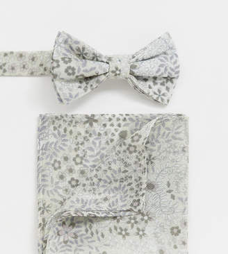 Asos Design DESIGN bow tie and pocket square in white floral