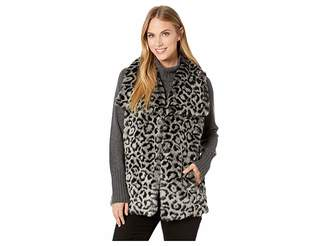 Via Spiga Snow Leopard Faux Fur Vest Women's Vest