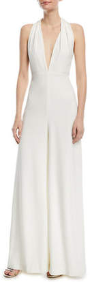 Halston Sleeveless Halter Jumpsuit w/ Strappy Back