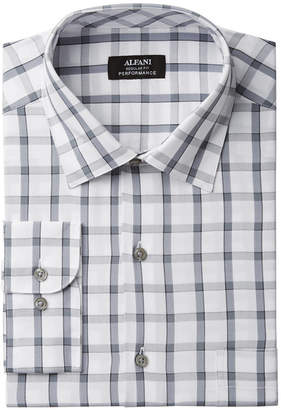 Alfani Men's Classic/Regular Fit Performance Stretch Easy-Care Windowpane Check Dress Shirt, Created for Macy's