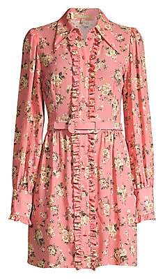 Michael Kors Women's Floral Silk Ruffled Shirtdress
