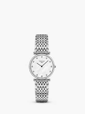 Longines L45130876 Women's La Grande Classique Diamond Bracelet Strap Watch, Silver/Mother of Pearl