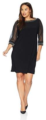 Tiana B Women's Size Plus Solid Jersey Shift Dress with 3/4 Sheer Sleeves