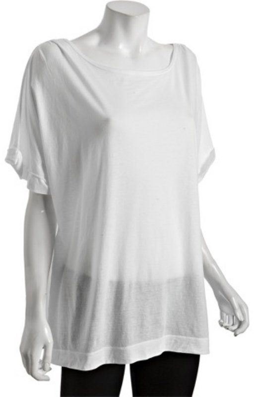 Sharon Segal white pima jersey boyfriend boat neck t-shirt