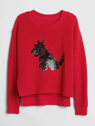Gap Sequin Dog Pullover Sweater