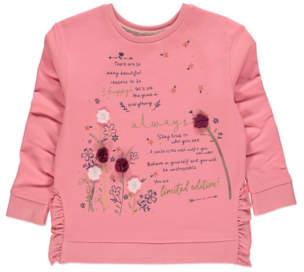 George Pink Floral Corsage Slogan Sweatshirt