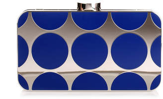 Manolo Blahnik Mina royal blue shiny silver clutch