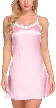 Avidlove Women Sleepwear Satin Nightgown Cami Full Slip Lace Chemise Nightwear XS