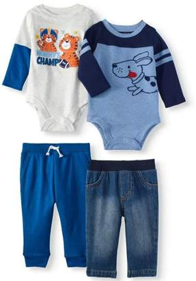 Garanimals Long Sleeve Bodysuits & Jogger Pants, 4pc Outfit Set (Baby Boys)