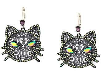 Betsey Johnson Cat Drop Earrings