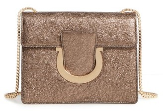 Salvatore Ferragamo Small Metallic Leather Chain Shoulder Bag - Blue $1,190 thestylecure.com