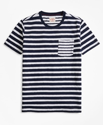 Brooks Brothers Fun Stripe Slub Cotton Jersey Pocket T-Shirt