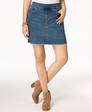 Style&Co. Style & Co Frayed Pull-On Denim Skort, Created for Macy's