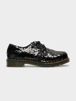 Dr. Martens New Womens 1461 Reversible Sequin Shoes In Black Silver Womens