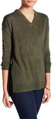 Sweet Romeo Side Slit V-Neck Oversized Sweater (Petite) $68 thestylecure.com